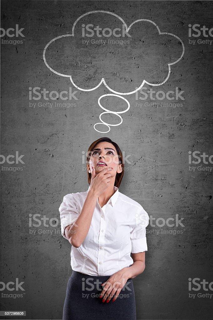 Businesswoman with blank thought bubble stock photo