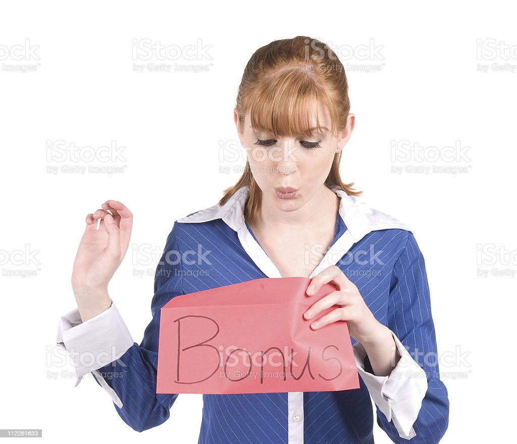 Businesswoman with Bonus Envelope royalty-free stock photo