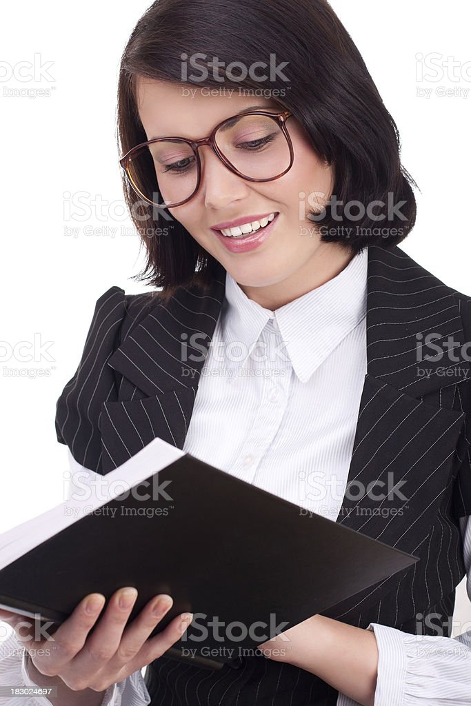 Businesswoman with book stock photo