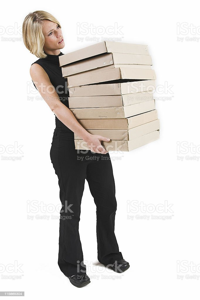 Businesswoman with boxes royalty-free stock photo