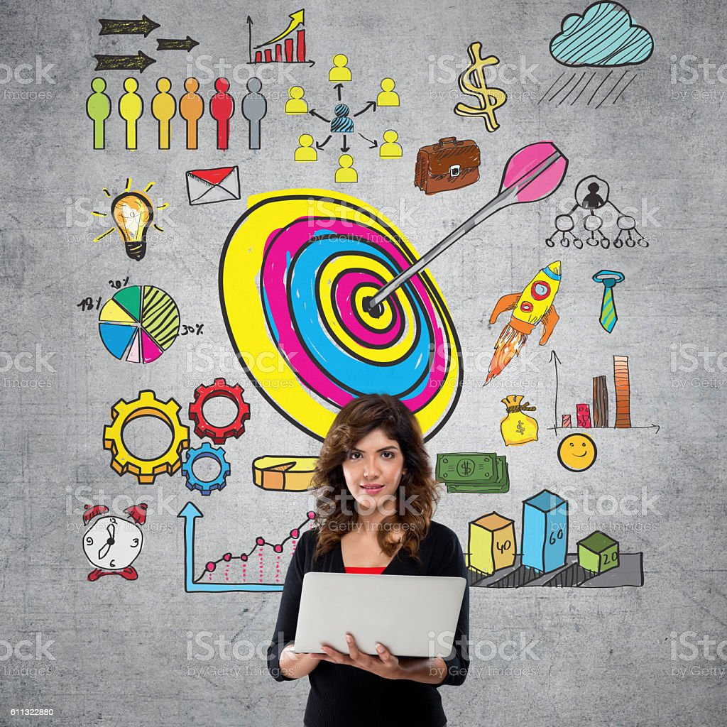 Businesswoman with business infographic stock photo