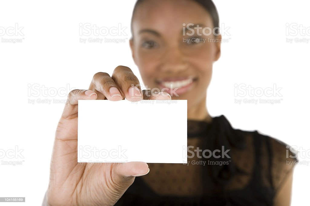 Businesswoman with card royalty-free stock photo
