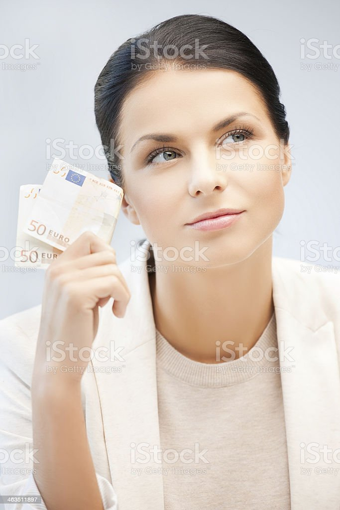 businesswoman with cash money stock photo