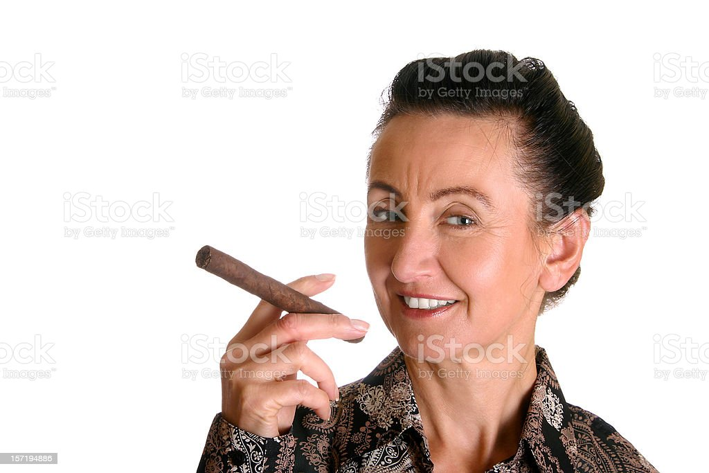Businesswoman with cigar stock photo