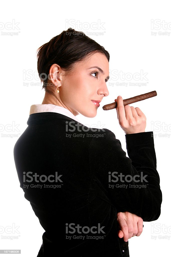 Businesswoman with cigar royalty-free stock photo