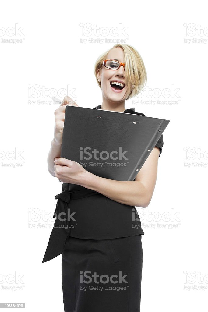 Businesswoman with clipboard isolated royalty-free stock photo