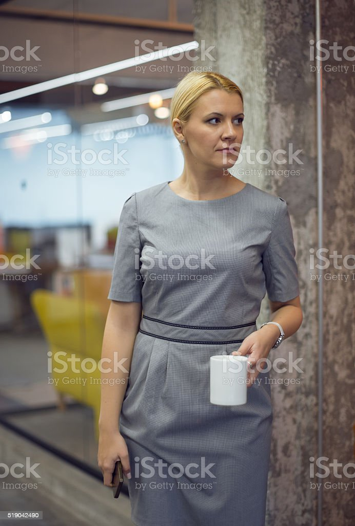 Businesswoman with coffee stock photo