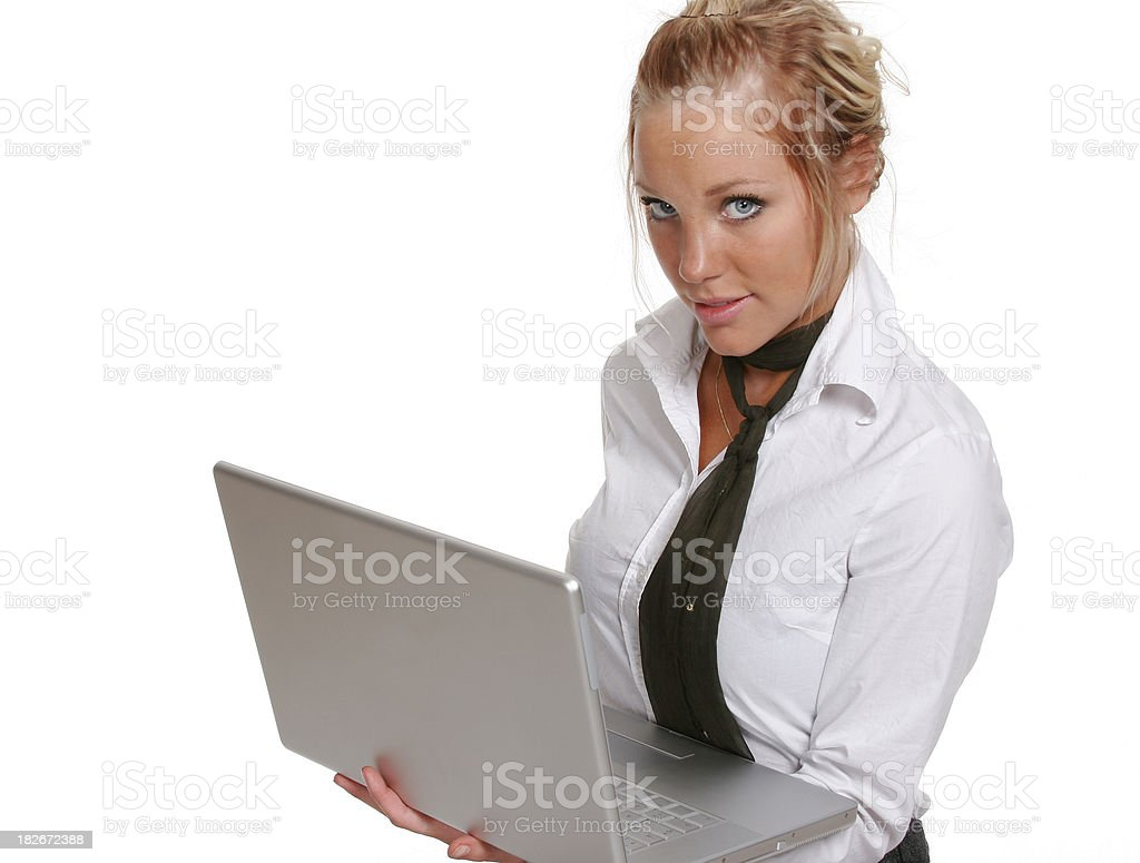 Businesswoman with computer royalty-free stock photo