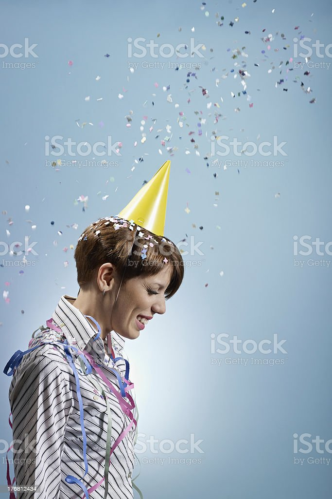businesswoman with confetti royalty-free stock photo