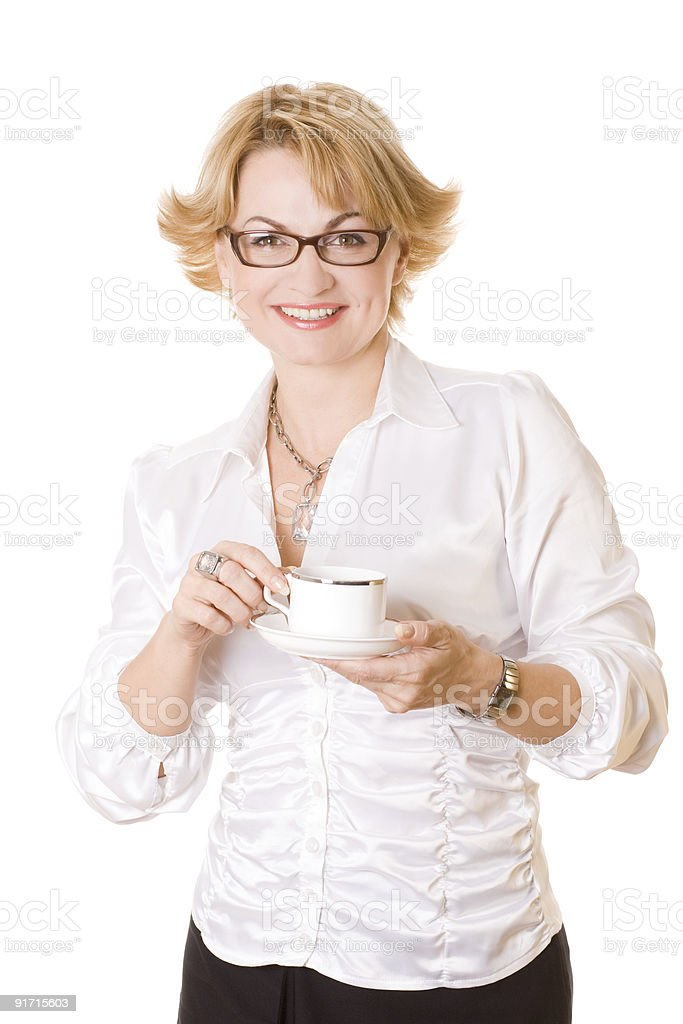 businesswoman with cup of coffee one royalty-free stock photo