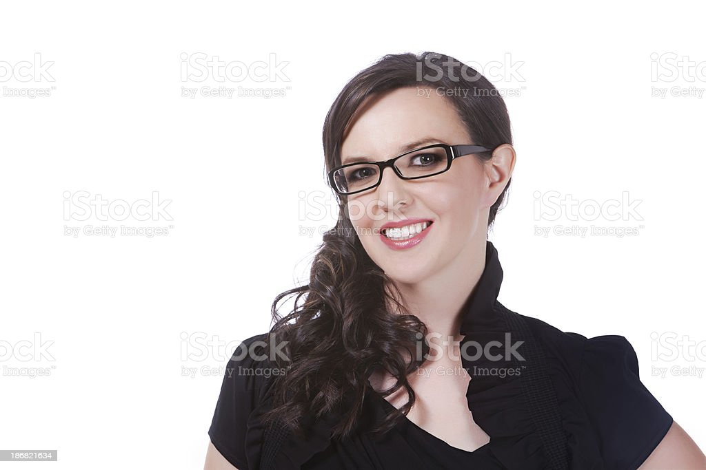 businesswoman with dark rimmed glasses stock photo