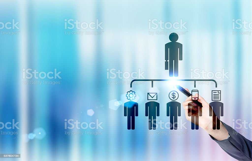 Businesswoman with delegating pictogram stock photo