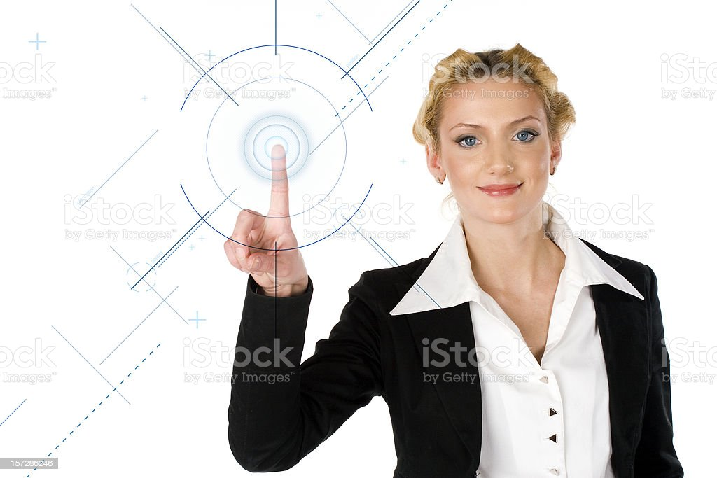 Businesswoman  with digital screen royalty-free stock photo