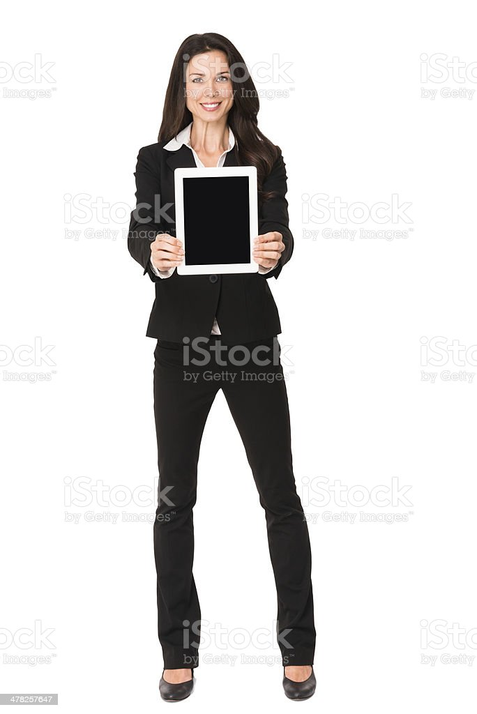 Businesswoman with Digital Tablet Isolated on White Background royalty-free stock photo