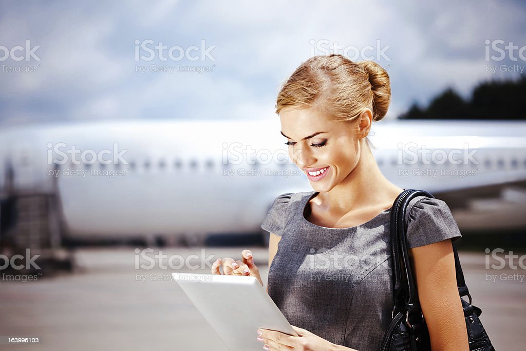 Businesswoman with digital tablet royalty-free stock photo