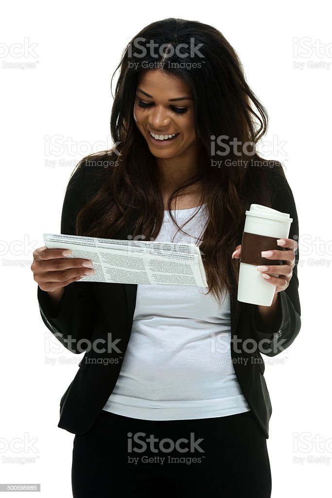 Businesswoman with disposable cup and document royalty-free stock photo