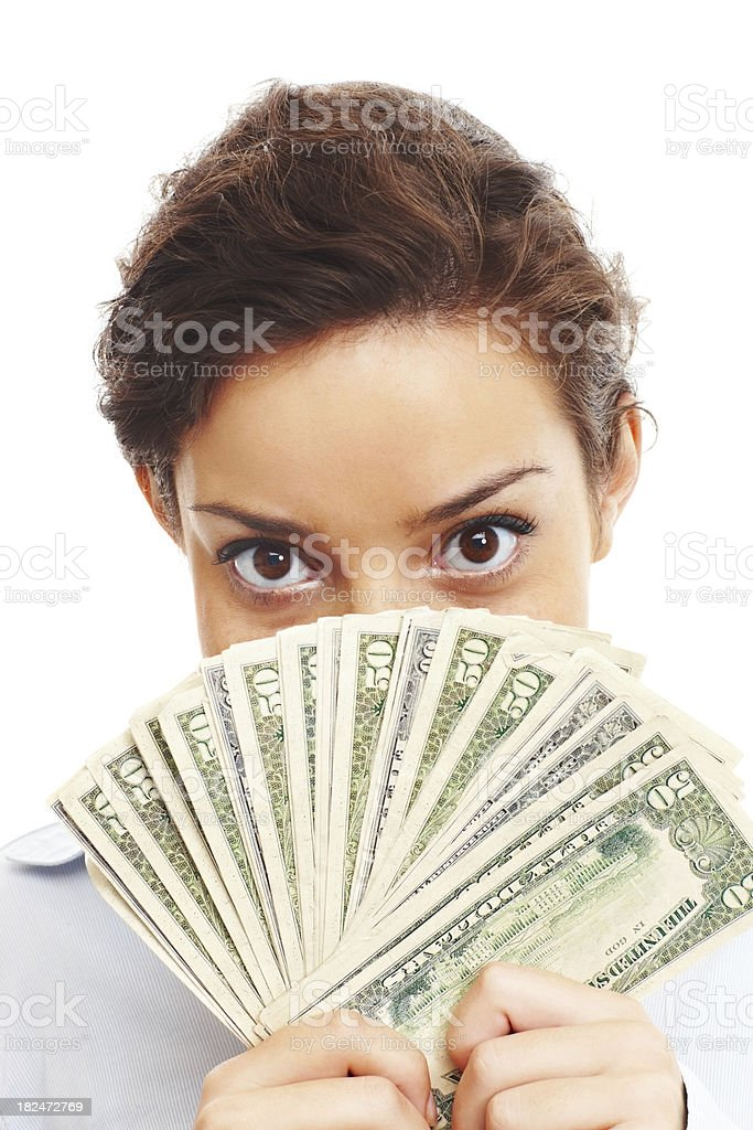 Businesswoman with dollars royalty-free stock photo