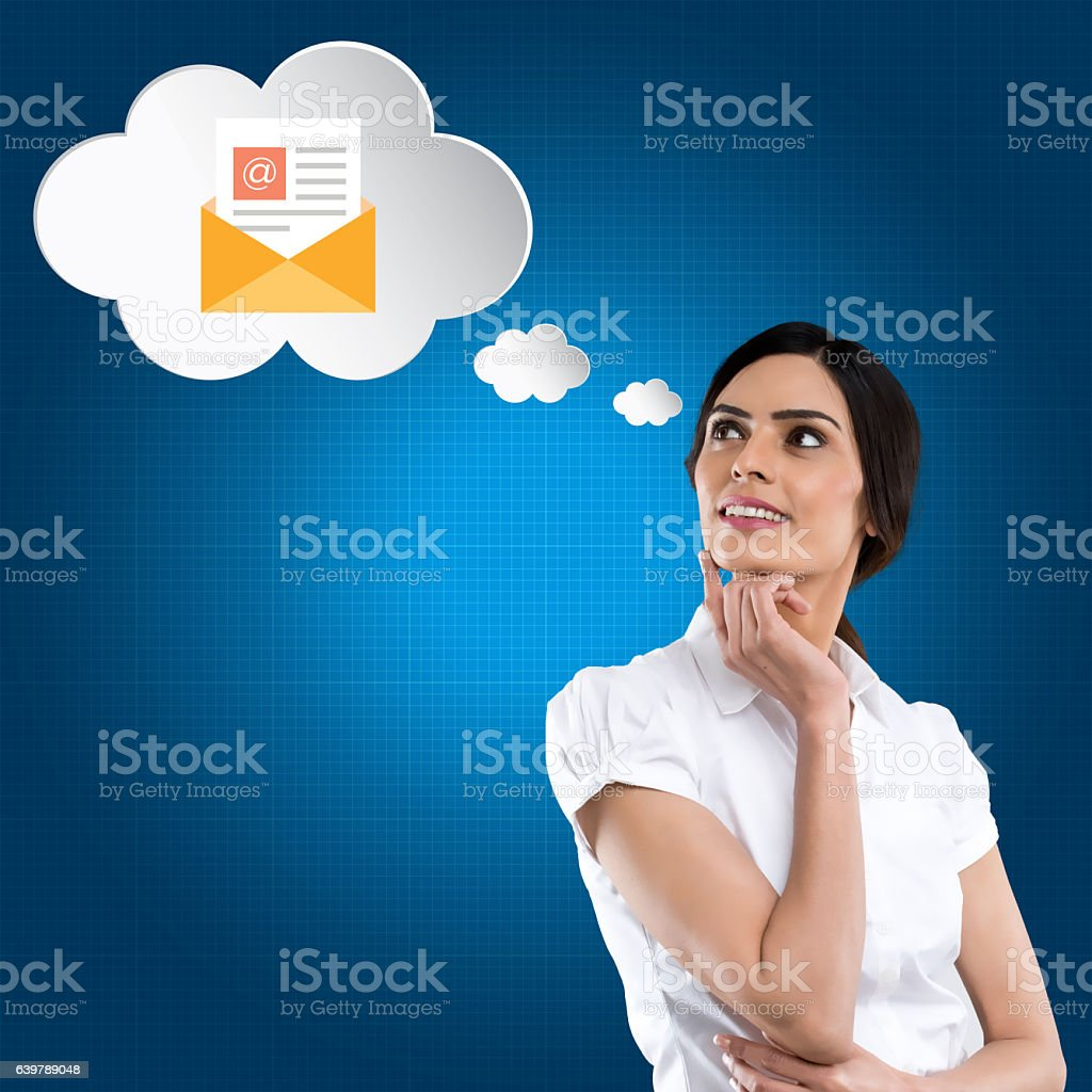Businesswoman with email icon vector art illustration