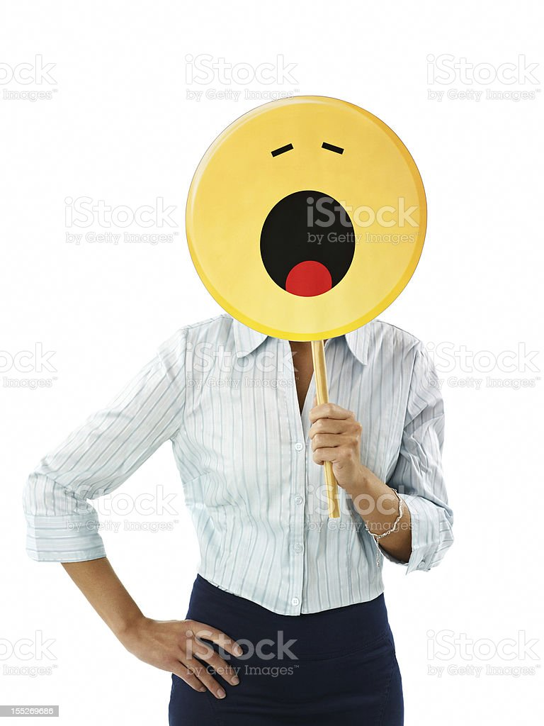 businesswoman with emoticon royalty-free stock photo