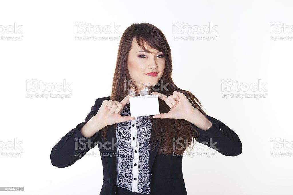 Geschäftsfrau mit leere Karte Lizenzfreies stock-foto