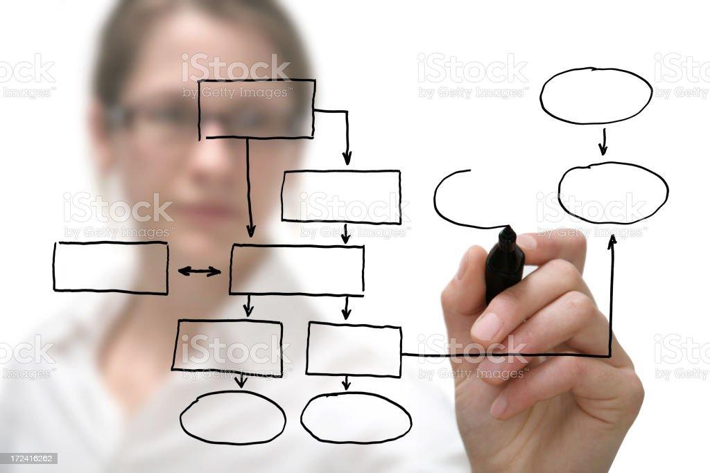 Businesswoman with empty diagram on white stock photo