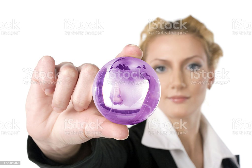 Businesswoman with globe royalty-free stock photo
