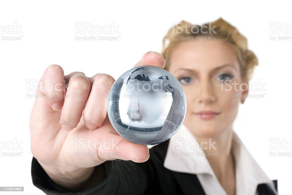 Businesswoman with globe royalty-free stock photo