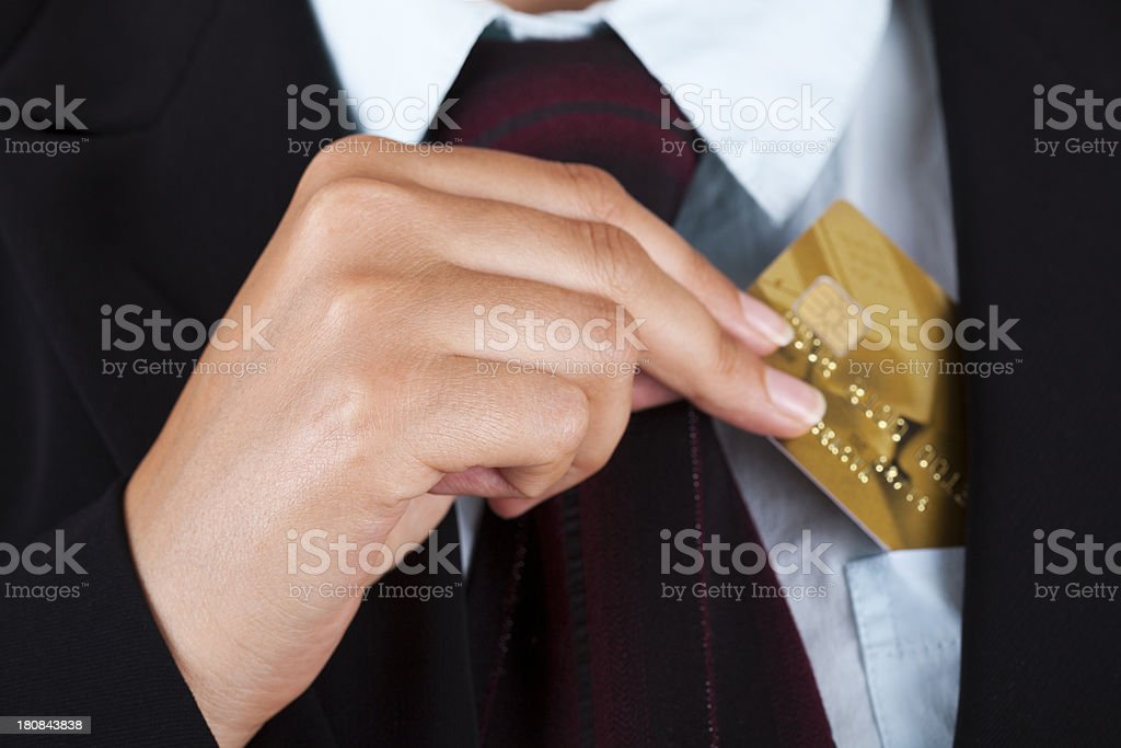 Businesswoman with Gold Credit Card stock photo