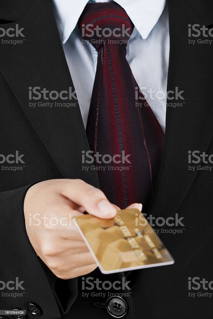 Businesswoman with Gold Credit Card royalty-free stock photo