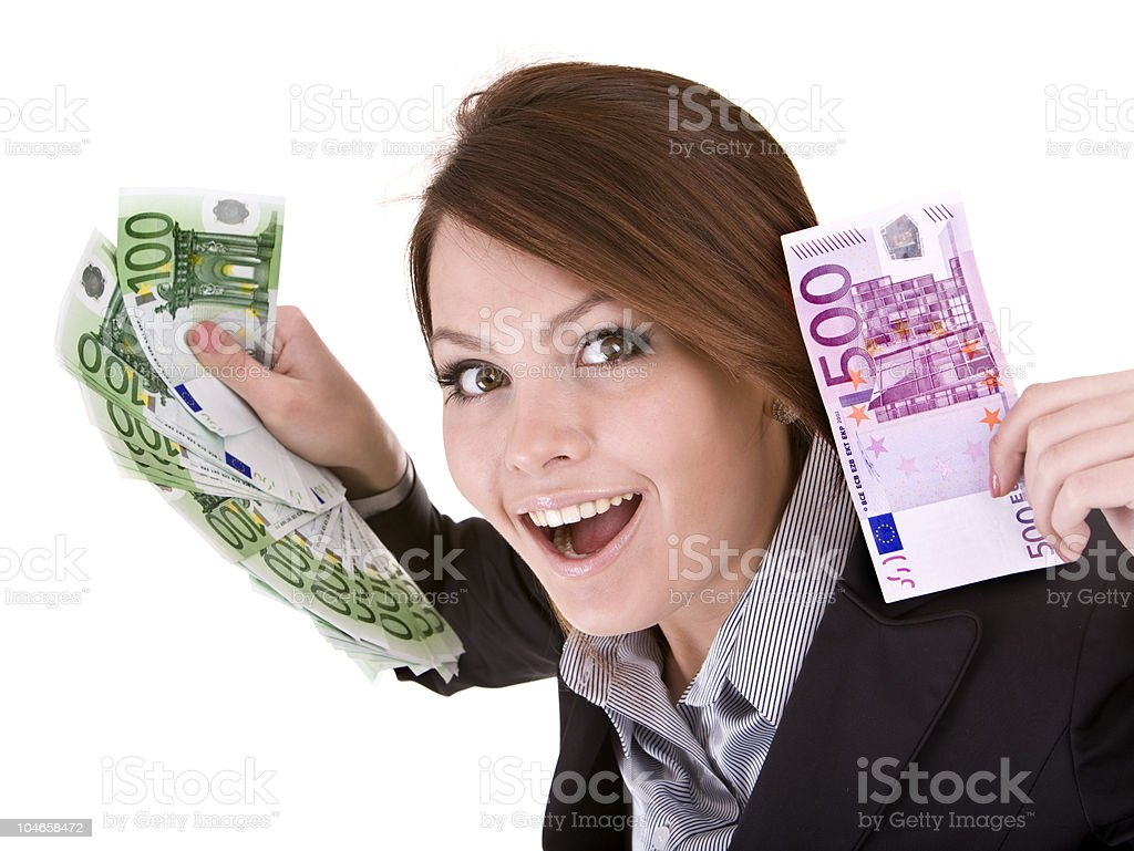 Businesswoman with group of money euro. stock photo