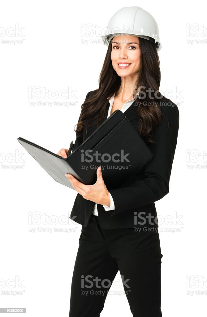Businesswoman with Hardhat on white stock photo