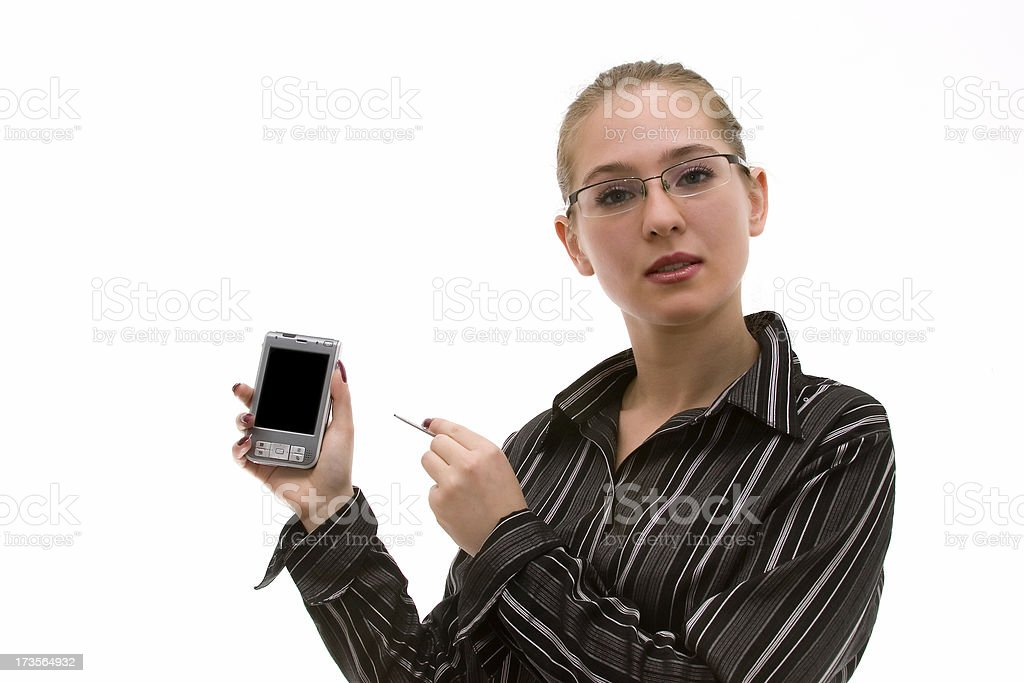 Businesswoman with her PDA #7 royalty-free stock photo