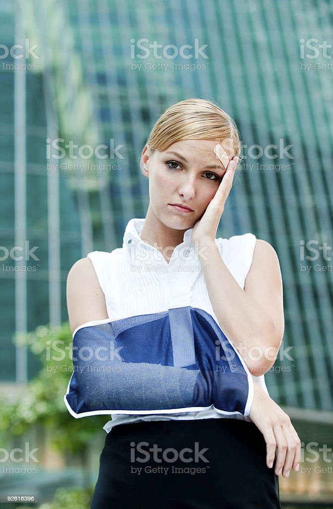 Businesswoman With Injured Arm royalty-free stock photo