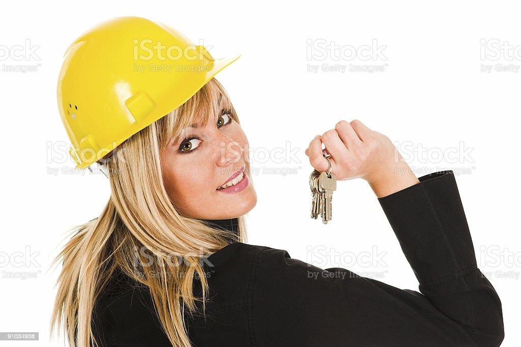 businesswoman with keys royalty-free stock photo