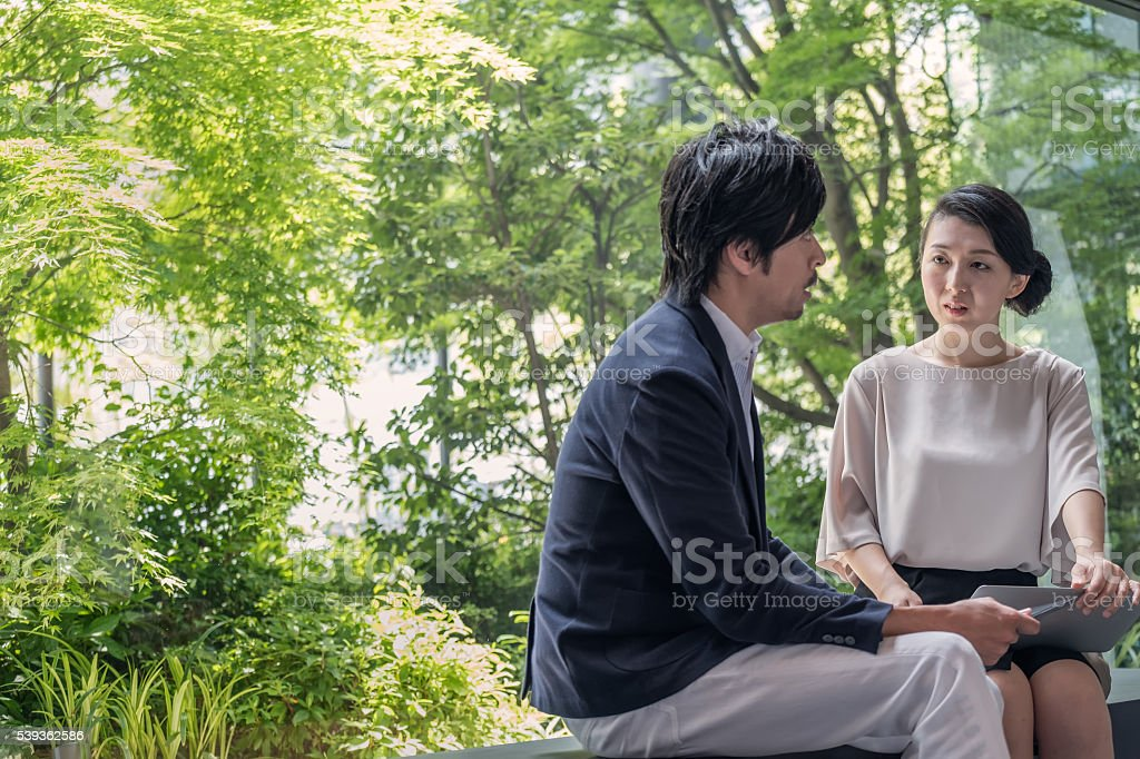 Businesswoman with Laptop Computer Interviewing Businessman with Tablet, Business Park stock photo