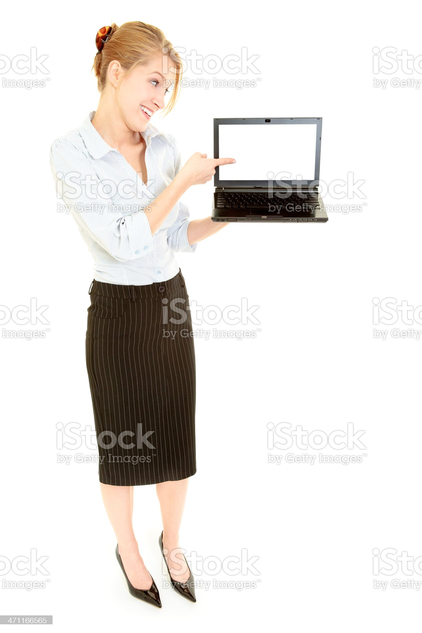 Businesswoman with laptop isolated on white royalty-free stock photo