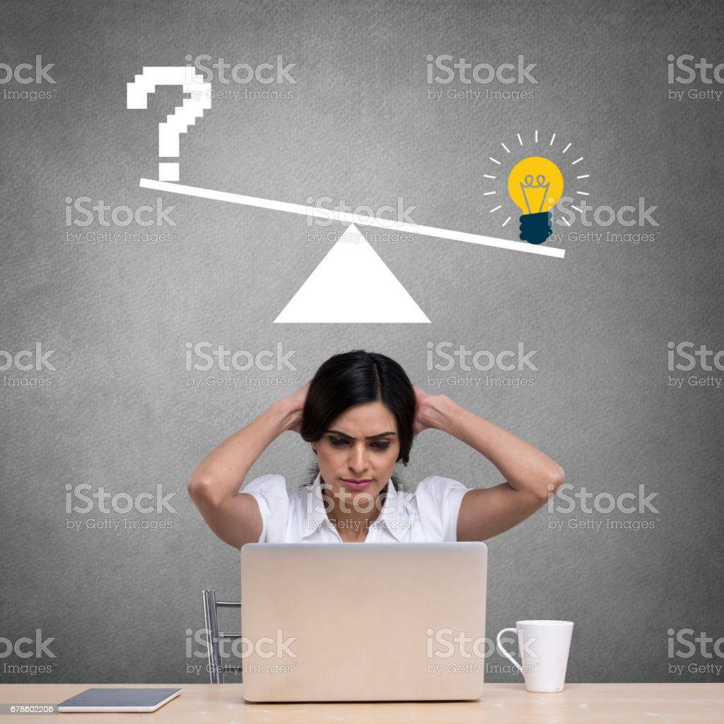 Businesswoman with light bulb and question mark icon on weight scale vector art illustration