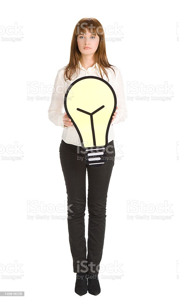 businesswoman with light bulb royalty-free stock photo
