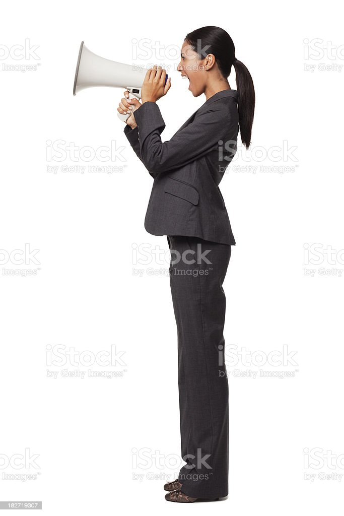 Businesswoman With Megaphone. Isolated. royalty-free stock photo
