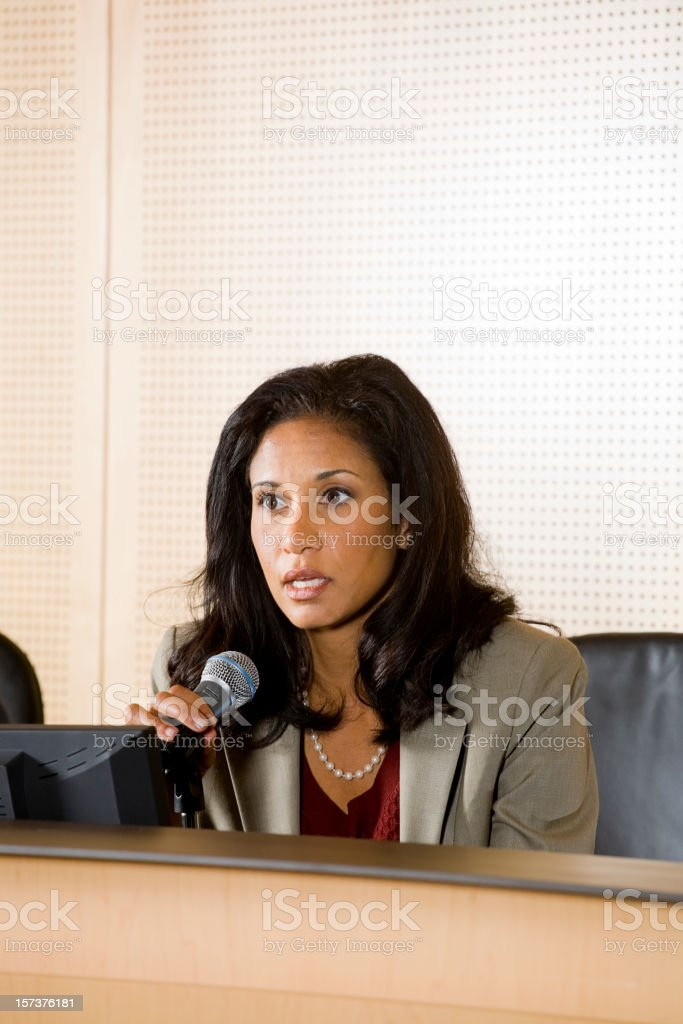 Businesswoman with Microphone royalty-free stock photo