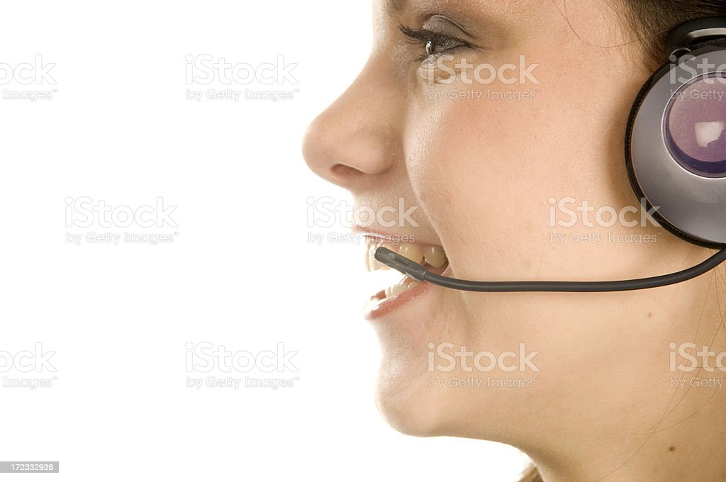 Businesswoman with microphone stock photo