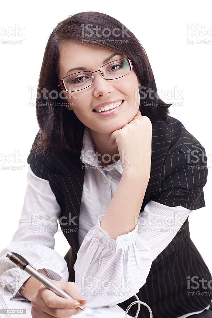 Businesswoman with notebook stock photo