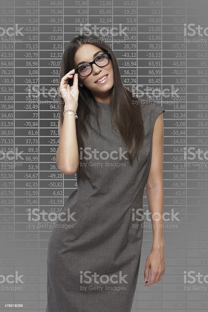 Businesswoman with numbers royalty-free stock photo