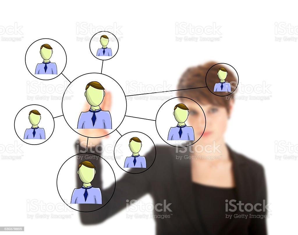 Businesswoman with online friends network isolated on white background stock photo