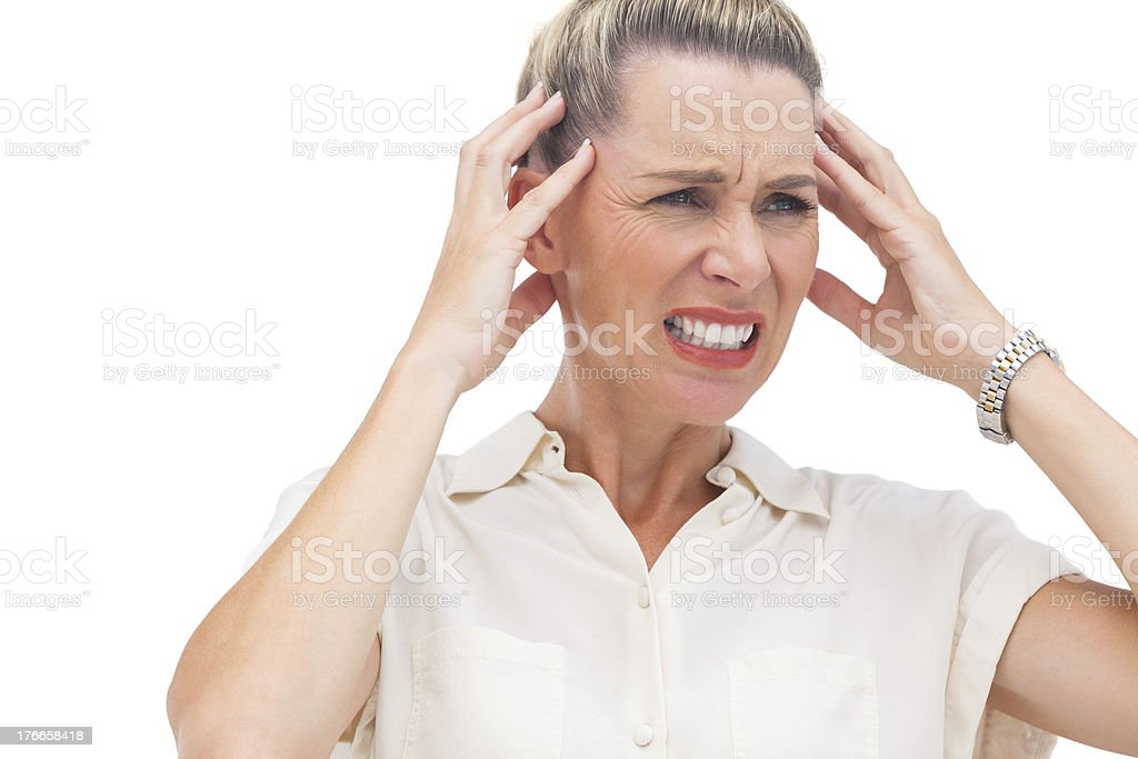 Businesswoman with painful headache royalty-free stock photo