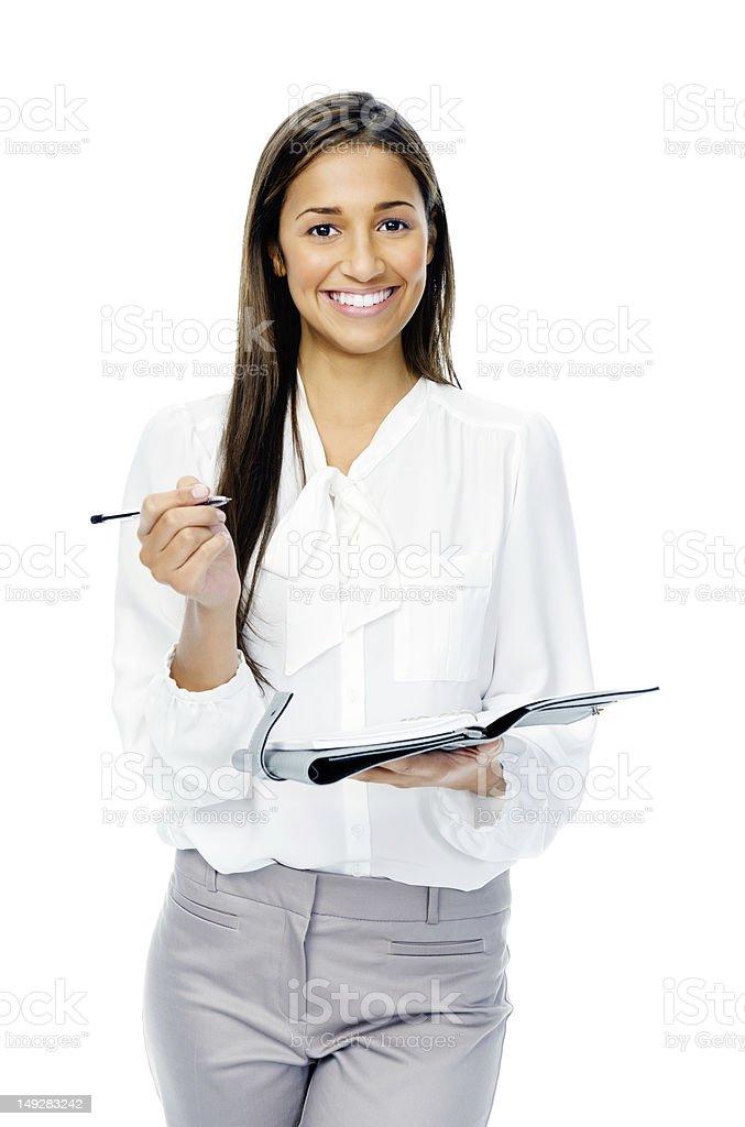Businesswoman with personal organizer stock photo
