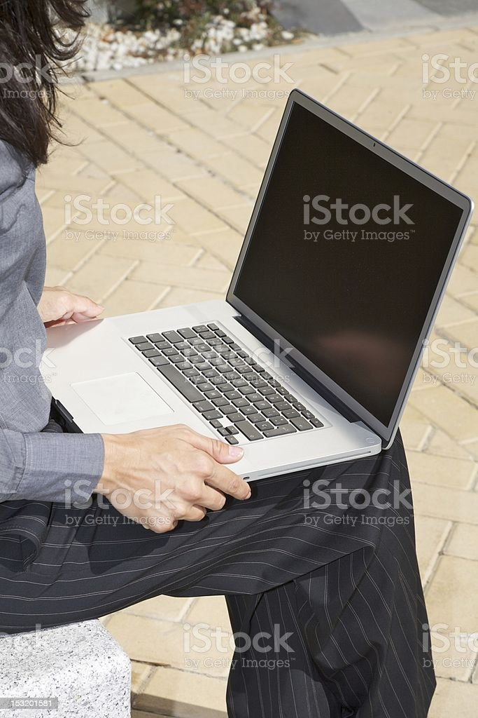 businesswoman with portable royalty-free stock photo
