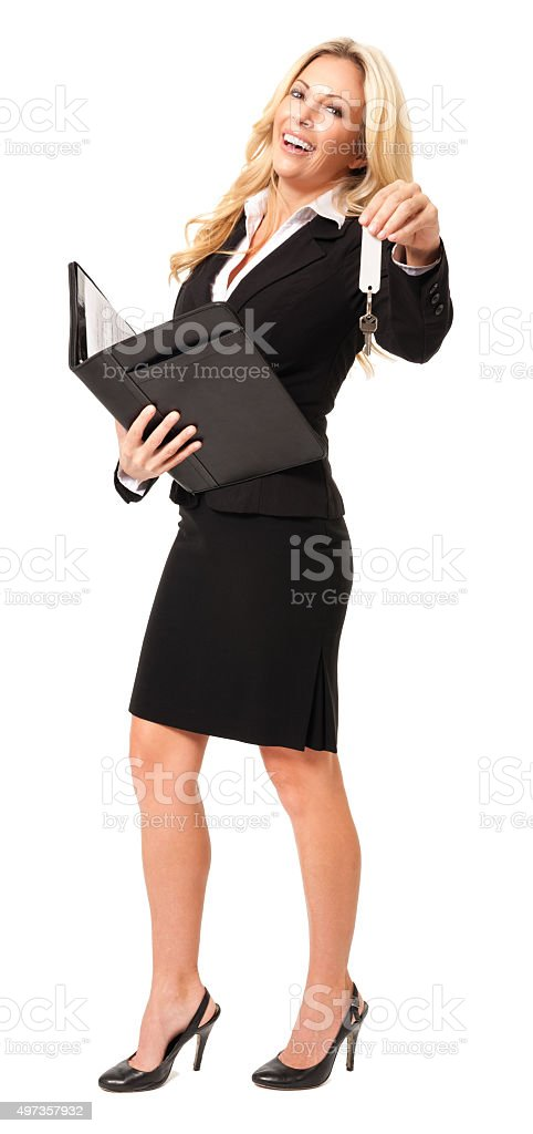 Businesswoman with Portfolio and House keys Isolated on White Background stock photo