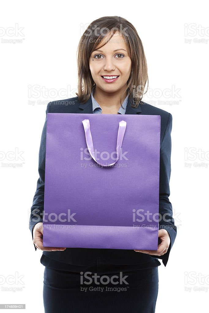 Businesswoman with present royalty-free stock photo