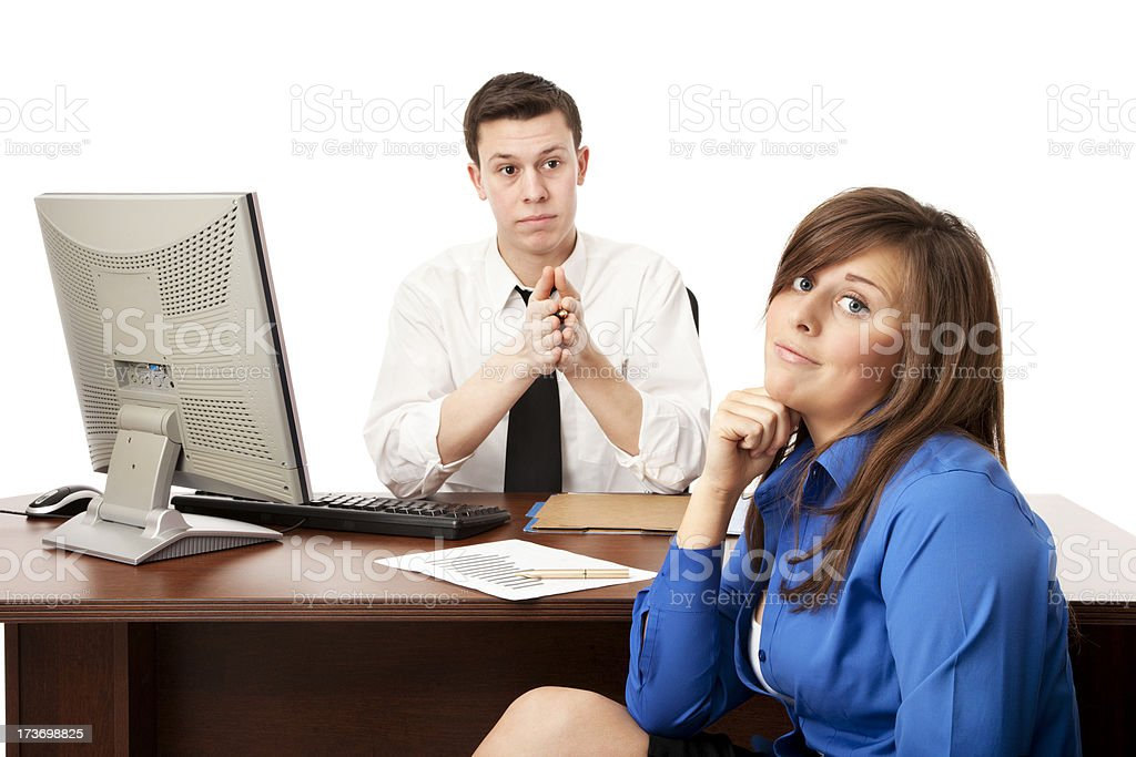 Businesswoman with Serious Boss royalty-free stock photo